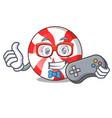 gamer peppermint candy mascot cartoon vector image