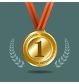 Gold medal with wreath vector image vector image