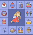 greeting card with easter icon and angel vector image vector image