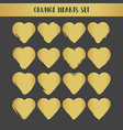 grunge gold hearts set abstract vector image