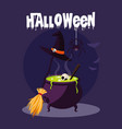 halloween card with witch cauldron vector image