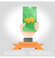 hand hold money polygon infographic element with vector image