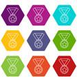hockey champion medal icons set 9 vector image vector image