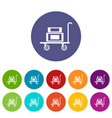 hotel trolley icons set color vector image vector image