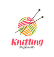 knitting logo or label needlework knit ball of vector image vector image