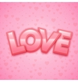 love word on heart background vector image vector image