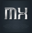 m and x initial silver logo mx - metallic 3d icon vector image