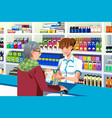 pharmacist helping an elderly person vector image