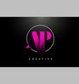 pink ap brush stroke letter logo design pink vector image