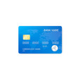 realistic credit card template plastic blue vector image vector image