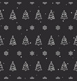 seamless christmas trees and snowflake pattern vector image vector image