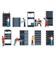server racks digital information and data center vector image