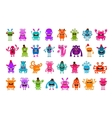 set cartoon cute monsters vector image vector image