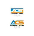 set initial letter acs design logo vector image vector image