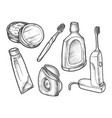 set isolated sketch tooth care symbols vector image