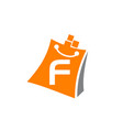 shopping online initial f vector image vector image