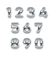 silver numbers set digital metal gradient numbers vector image