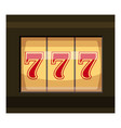 slot machine with three sevens icon cartoon style vector image vector image