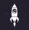 spaceman flying in rocket to outer space vector image vector image