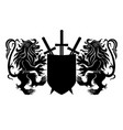 two black lions with shield and swords vector image vector image