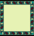 vintage square frame with lotuses vector image vector image