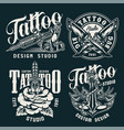 vintage tattoo studio badges vector image vector image