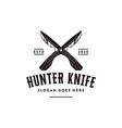 vintage wood hunter knife logo icon vector image vector image