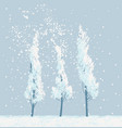 winter snowy landscape with snow covered trees vector image vector image