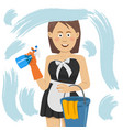 woman cleaning window with cleanser spray vector image vector image