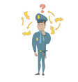 young hispanic policeman with question mark vector image vector image