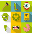 zombie element icon set flat style vector image vector image