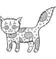 hand drawn cat coloring page vector image