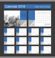 2018 calendar desk calendar modern design vector image vector image