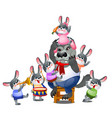 a set of animated happy little bunnies in clothes vector image