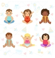 Adorable Big-Eyed Babies Sitting And Smiling Set vector image vector image