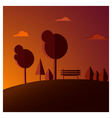 bench sunset vector image