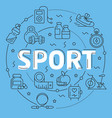 blue line flat circle sport fitness vector image vector image