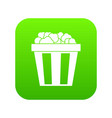 box of popcorn icon digital green vector image