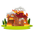 cabin wooden house on fire vector image vector image