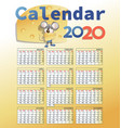 calendar 2020 and mouse with cheese vector image