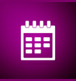 calendar icon isolated on purple background vector image