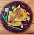 chicken with rosemary and oranges vector image