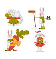 christmas bunnies or rabbits isolated animals hare vector image