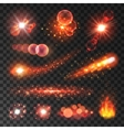 Comet tails shooting stars flaming fire vector image