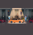 couple of seller presenting new car in dealership vector image vector image