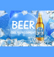 craft icy beer ads with splashing realistic glass vector image