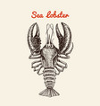 crustacean lobster with claws river and lake or vector image vector image