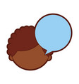 cute african boy with speech bubble character icon vector image
