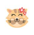 cute cat head with closed eyes funny cartoon vector image vector image