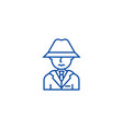 detective spy man with hat line icon concept vector image
